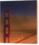 Foggy Golden Gate At Sunset Wood Print