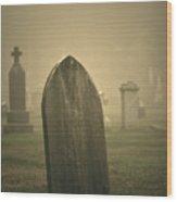 Foggy Gravestone  Wood Print