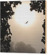 Foggy Heron Flight Wood Print
