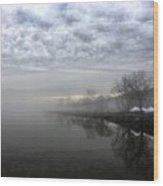 Foggy Hudson River Shore Wood Print