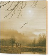 Foggy Lake And Three Couple Of Birds Wood Print