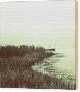 Foggy Lake Pier Wood Print