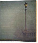 Foggy Lampost Wood Print