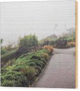Foggy Langmoor Gardens - Lyme Regis Wood Print
