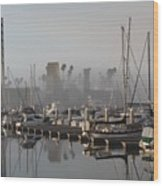Foggy Marina Morning 2 Wood Print