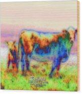 Foggy Mist Cows #0090 Arty Wood Print