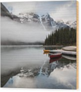 Foggy Morning At Moraine Lake Wood Print