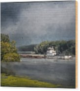 Foggy Morning At The Barge Harbor Wood Print