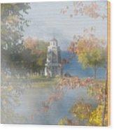 Foggy Morning At The Lake Wood Print