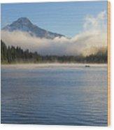 Foggy Morning At Trillium Lake Wood Print