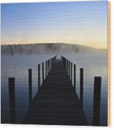 Foggy Morning Docks 1 Wood Print