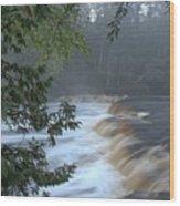 Foggy Morning On Lower Tahquamenon Falls Wood Print