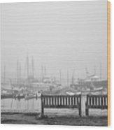 Foggy Morning On The Sea Wood Print