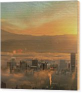 Foggy Morning Over Portland Cityscape During Sunrise Wood Print