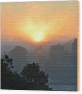 Foggy Morning Sunrise Wood Print