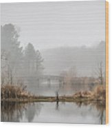 Foggy Morning View Of The Bridge Wood Print