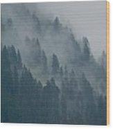 Foggy Mountain Ridge Wood Print