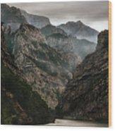 Foggy Mountains Over Neretva Gorge Wood Print