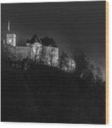 Foggy Night In Ljubljana Wood Print