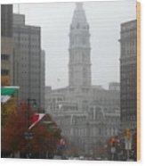 Foggy Philadelphia Wood Print
