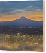 Foggy Portland City Downtown At Dawn Wood Print