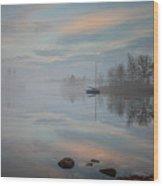 Foggy Sunrise At Great Pond 2 Wood Print