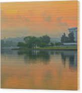 Foggy Sunrise At The Tidal Basin Wood Print