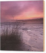 Foggy Sunset At Singing Sands Wood Print