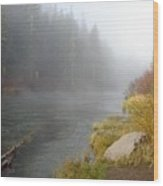 Foggy Truckee River Wood Print