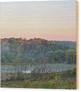 Foggy Valley Panorama Wood Print