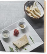 Foie Gras French Traditional Duck Pate With Bread  Wood Print