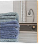 Folded Towels On A Dryer Wood Print by Thom Gourley/Flatbread Images, LLC