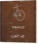 Folding Bycycle Patent Drawing 2c Wood Print