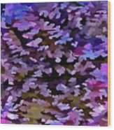 Foliage Abstract In Blue, Pink And Sienna Wood Print