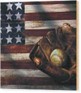 Folk Art American Flag And Baseball Mitt Wood Print by Garry Gay