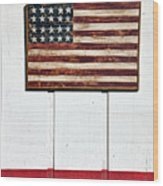 Folk Art American Flag On Wooden Wall Wood Print