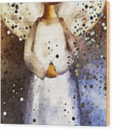 Folk Art Angel Wood Print