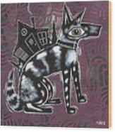 Dog House Folk Art Wood Print