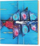 Folk Art Galactic Space Fish Wood Print