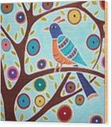 Folk Bird In Tree Wood Print