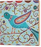 Folk Bird Wood Print