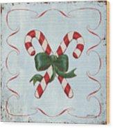 Folk Candy Cane Wood Print