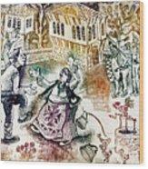 Folk-dancing Wood Print