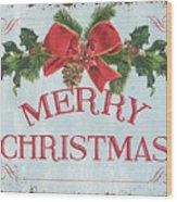 Folk Merry Christmas Wood Print