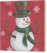 Folk Snowman Wood Print