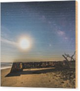 Folly Beach Milky Way Wood Print