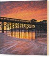 Folly Beach Pier And Waterfront Development Charleston South Carolina Wood Print