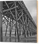 Folly Beach Pier Black And White Wood Print by Dustin K Ryan