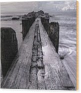 Folly Beach Pilings Charleston South Carolina Wood Print