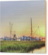 Folly Fishing Boats  Wood Print by Drew Castelhano